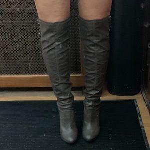 Grey OTK boots